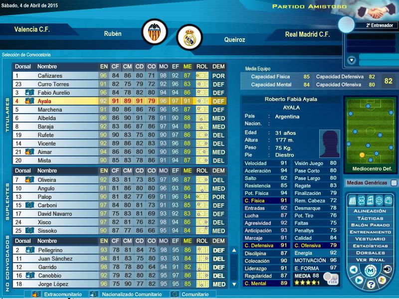 Alinceación del Valencia C.F.